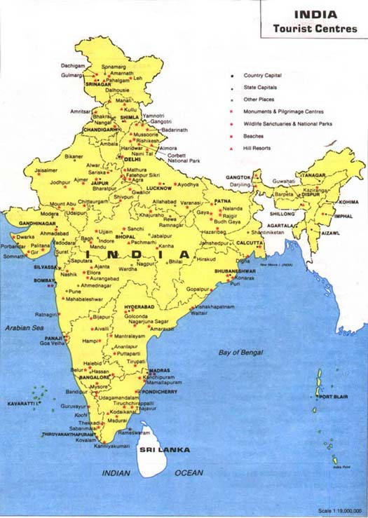 Map India Tourist Places – Tourist Map Of India