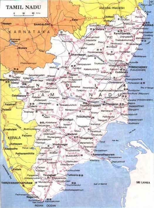 Tamilnadu Map Pilgrimage Centres Beaches Hillstations - Tamilnadu map